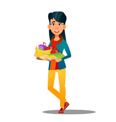 happy vegan girl with plate fruits and vector image