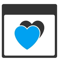 Hearts Calendar Page Toolbar Icon vector