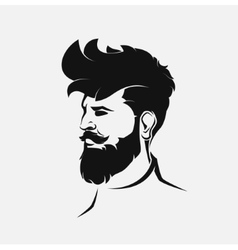 Hipster figure with beard and hair vector