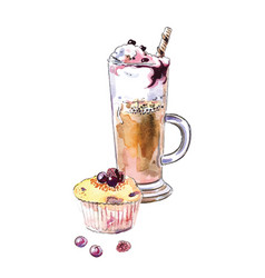 ice cream glass muffin cake with berries cupcake vector image