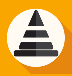 icon traffic cones on white circle with a long vector image