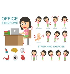 Infographic office syndrome woman vector