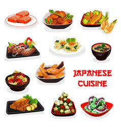 Japanese dishes fish vegetable meat seafood vector
