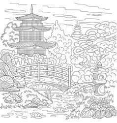Japanese or chinese pagoda adult coloring page vector