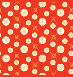 japanese pattern red and gold floral shapes colors vector image