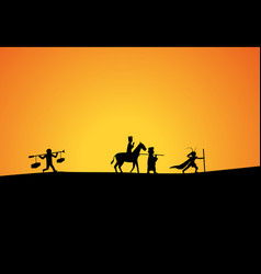Journey to west in silhouette art vector