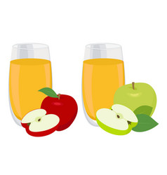Juice set glass of apple juice with red and green vector