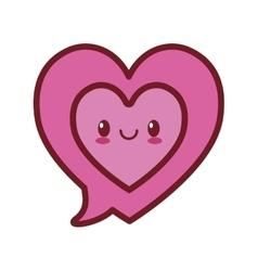 kawaii love bubble speech heart valentine vector image