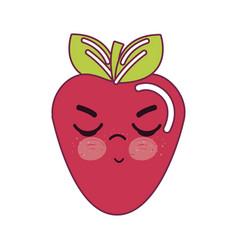 Kawaii nice angry strawberry icon vector
