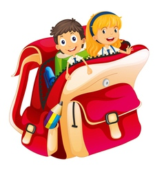 Kids in a bag vector
