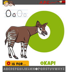 Letter o from alphabet with okapi animal character vector
