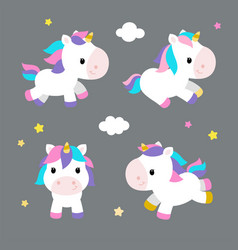little unicorns in modern flat style on gray vector image