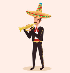 Mexican mariachi with trumpet character vector