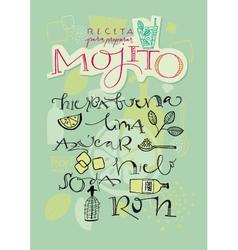 Mojito cocktail recipe vector image