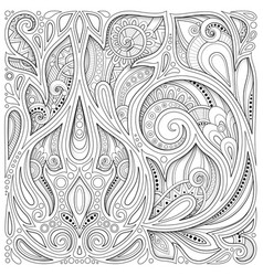 Monochrome floral background in paisley garden vector