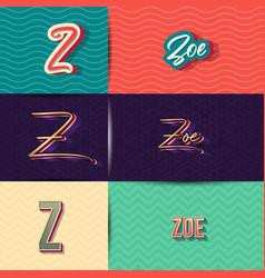 Name zoe in various retro graphic design elements vector
