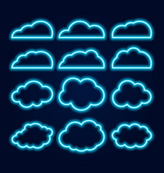 neon cloud icons set glowing bright blue lines on vector image