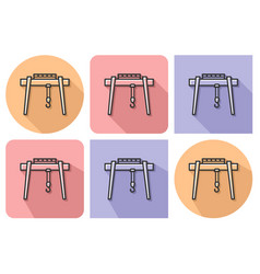 outlined icon of gantry crane with parallel and vector image