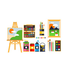 painter icons set painting art tools and vector image
