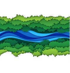 Paper river top view water stream surrounded by vector