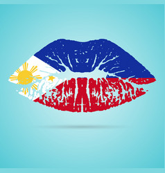 Philippines flag lipstick on the lips isolated on vector