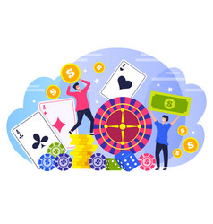 Poker winners people concept characters happy vector
