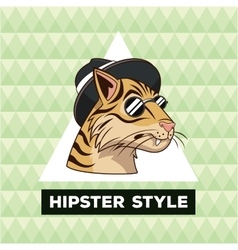 Portrait tiger hipster style green geometric vector