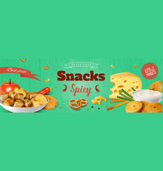 Realistic snacks poster vector