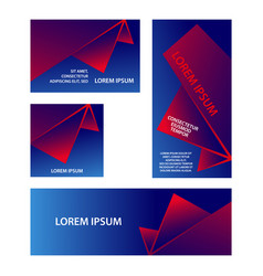 red and blue abstract geometric banners set vector image