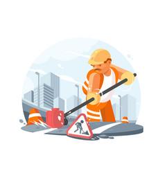 Road service worker vector