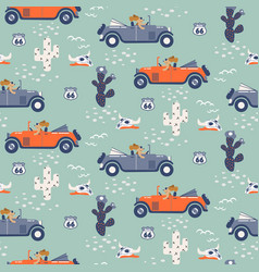 Seamless pattern with dogs on cars in vector