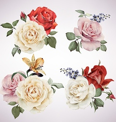 Set bouquets roses watercolor can be used as vector