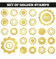 set golden grunge stamp round shapes vector image