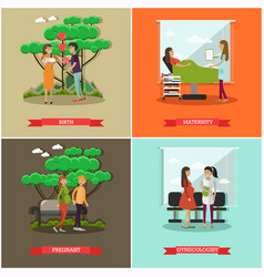 set maternity hospital posters in flat vector image