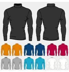 Set of colored turtleneck shirts templates for men vector