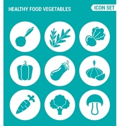 Set of round icons white healthy food vegetables vector