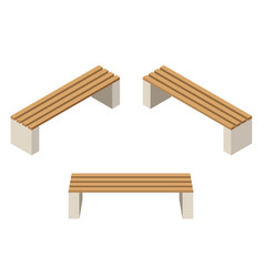 set of wooden benchesisolated to construct garden vector image