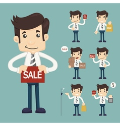 Set of youg sale man at market shopping store vector image