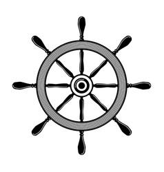 ship steering wheel in monochrome style design vector image