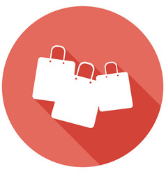 shopping bags on white circle with a long shadow vector image