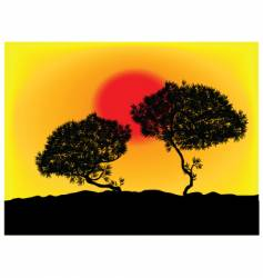 silhouette tree background vector image
