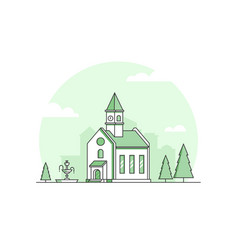 small church - modern thin line design style vector image