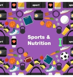 Sports and nutrition seamless pattern vector image