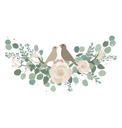 spring roses and eucalyptus branches bouquet vector image