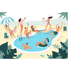 Swimming pool party summer outdoors people in vector
