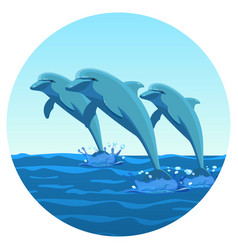 Three dolphins synchronously jump out of water vector