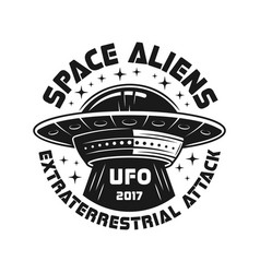 ufo or aliens spaceship black emblem vector image