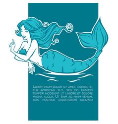 underwater beautiful mermaid girl cartoon image vector image