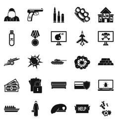 Warfare icons set simple style vector
