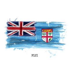 watercolor painting flag of fiji vector image
